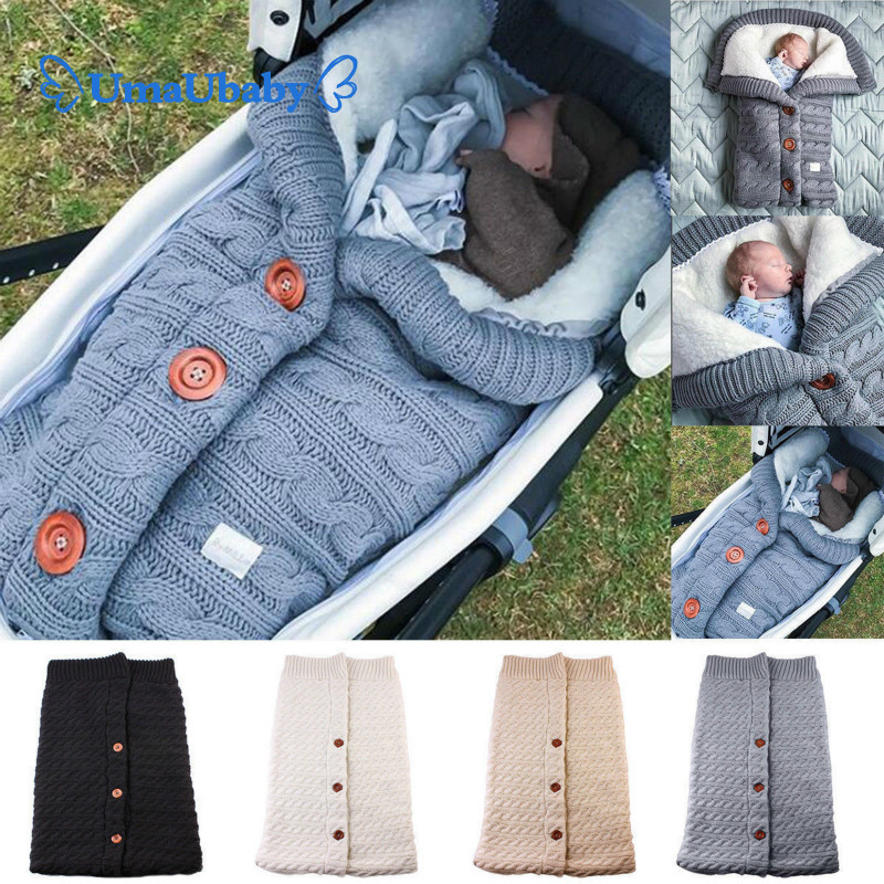 Newborn Baby Winter Warm Sleeping Bag Baby Button Knitted Bag Baby Stroller Bag Toddler Blanket Sleeping Bag Portable Outdoor