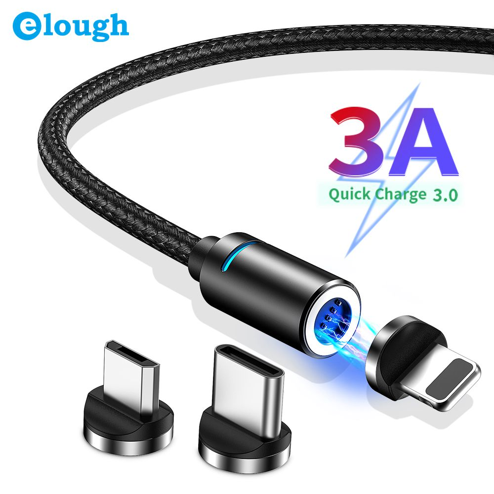 Elough Magnetic USB Cable Fast Charging Micro USB Type C Cable For iPhone 11 X Samsung S9 Huawei Xiaomi Charger Data Phone Cable|Mobile Phone Cables| - AliExpress