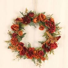 Искусственный венок долговечный красивый Осенний розы Декоративная