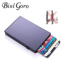BISI GORO Anti-theft Aluminum Single Box Smart Wallet Slim RFID Fashion Clutch Pop-up Push Button Card Holder New Name Card Case