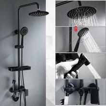 Черный четыре шестерни душ насадка медь душ набор смеситель ванная ванная дом бустер спрей пистолет