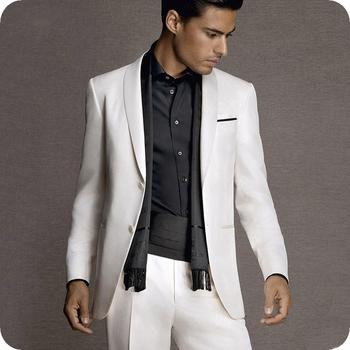 Białe suknie balowe smokingi dla pana młodego Mans garnitury na ślub Mans garnitury na kolację garnitury imprezowe Custom Made dwuczęściowy garnitury (kurtka + spodnie) tanie i dobre opinie Caterinasara COTTON Poliester Z wełny Groom wear REGULAR Mieszkanie Zipper fly Pojedyncze piersi Groom Suit Skośnym