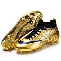 Zhenzu profissional unisex sapatos de futebol longos picos tf tornozelo botas de futebol ao ar livre grampos de grama sapatos de futebol tamanho da ue 35-44