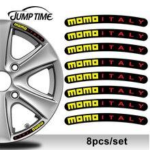 Jump time 13cm x 1.3cm 8 pçs para momo itália aro adesivo roda listras definir emblema carro auto tuning motocicleta estilo do carro decoração