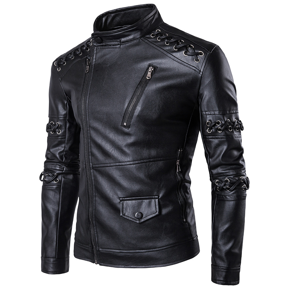 Winter Ouma New Style Cool Braided Rope Stand Collar Men Locomotive Leather Coat Slim Fit Oblique Zip-up Jacket