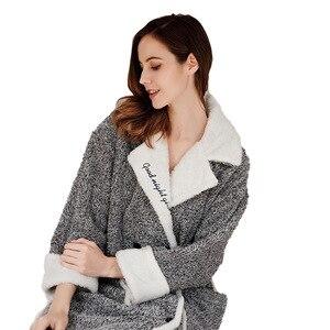 Image 5 - 2019 Cardigan Winter Pajamas Womens Warm Bathrobe Thick Warm Coral Fleece Embroidered Robe Loose Home Clothes Sleepwear