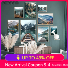 Настенный постер с природой, Картина на холсте с изображением леса, гор, озера, лодки, декоративная картина в скандинавском стиле, Современн...