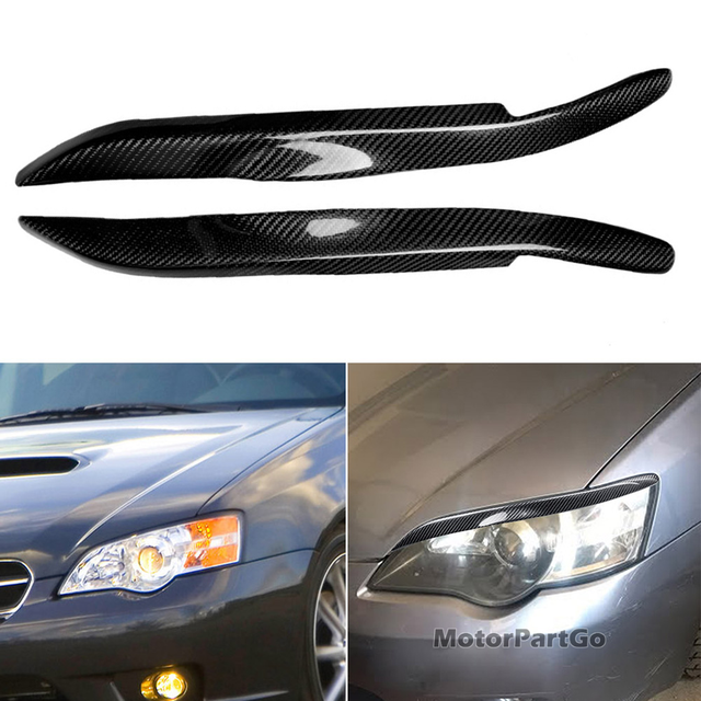 Real Crabon Fiber Head light Eyelid Eyebrow Cover Trim 1pair for  Subaru Legacy 2006-2008 T222 1