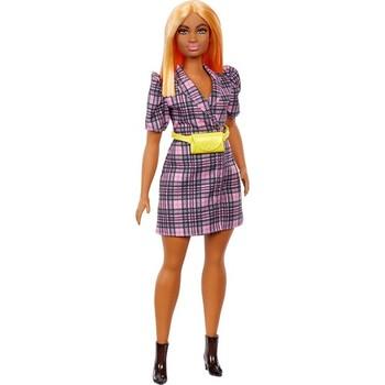 Barbie fashionistka urocze lalki imprezowe-brunetka Plus rozmiar lalka Barbie z pomarańczowe włosy-żółta torba szara sukienka Barbie-fajna Barbie tanie i dobre opinie CN (pochodzenie) Model Zawody FASHION DOLL 3 lat Produkty na stanie Unisex