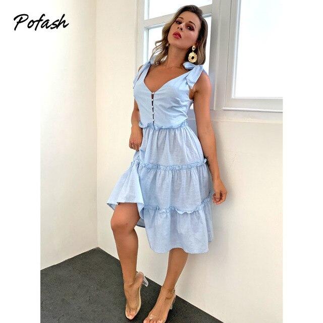 Pofash Blue Solid Midi Dress Women Spaghetti Strap Bow Sleeveless Ruffle Summer Dress V Neck Button Backless Sexy Vestidos 2021 4