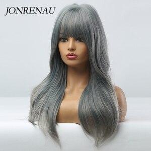 Image 3 - JONRENAU Cyan pelucas de cabello sintético degradado para mujer, pelo largo y liso, Color gris, con explosión, para Cosplay o fiesta