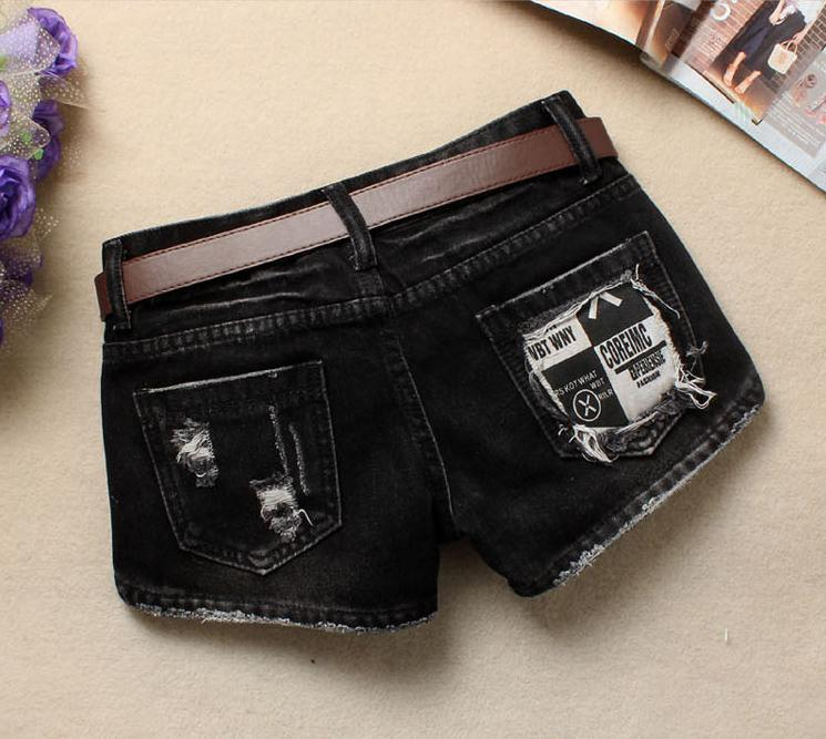 Women Sexy Mini Shorts Rivet Holes Jeans Low Waist Shorts Without Belt Ripped Denim Short 39