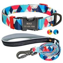 Conjunto de collares para mascotas de nilón a cuadros con correa y placa de identificación grabada para perros pequeños y grandes