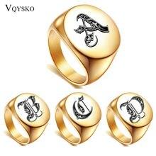 Мужское кольцо из нержавеющей стали с буквами под золото