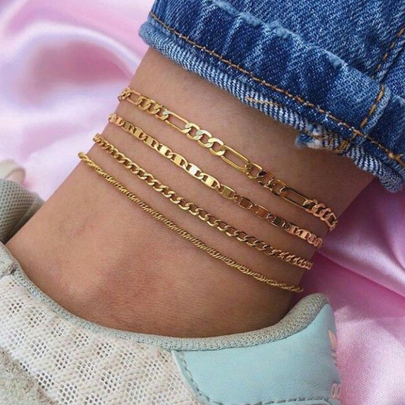 4PCS/Set Punk Figaro Chian Anklets For Women 2020 Simple Gold Silver Color Geometric Chain Ankle Bracelet on Leg Foot Jewelry