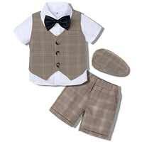 Traje de boda para bebés, traje Formal para niños, esmoquin pequeño Caballero Ropa de fiesta de cumpleaños para bebé, accesorios para SESIÓN DE DISFRACES