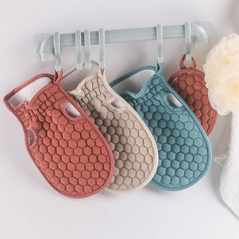 1 Set Wash Scrub Gloves Strip For Body Brush Bathing Soft Back Exfoliating Washcloth Accessories Baths Belt Scrubber Sponge
