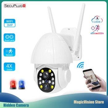 Dual-Lens Wifi Camera Outdoor Auto Tracking Cloud Home Security 1080P PTZ IP Camera 2MP Zoom Speed Dome CCTV Camera Surveillance цена 2017