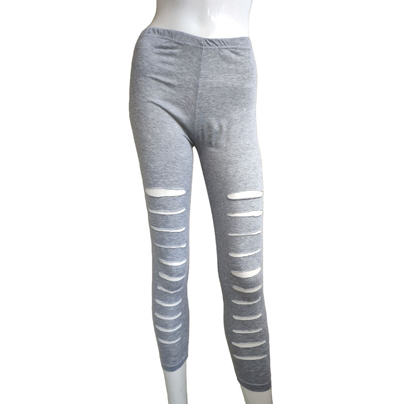 Women   Leggings   Hole Plus Size Casual Fashion Fitness High Waist Pencil Female Trousers Solid
