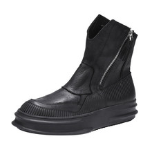 Brand Luxury Mens Cow Real Leather Motorcycle Ankle Boots High Top
