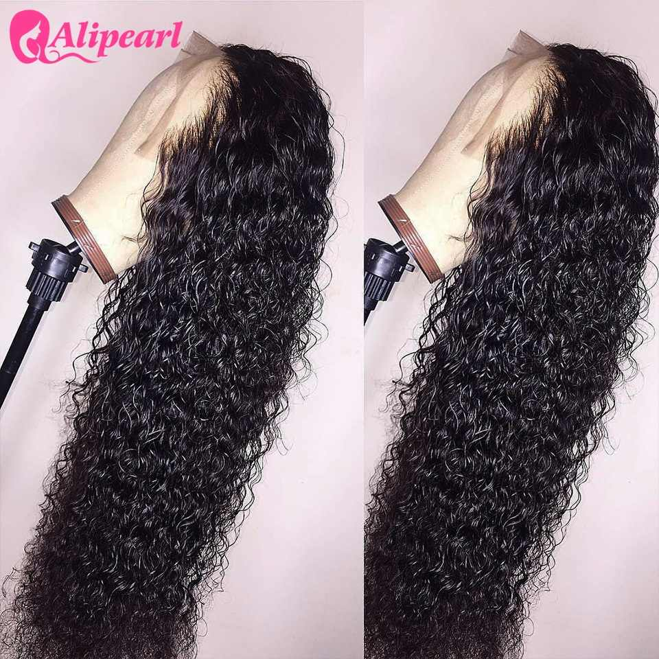 13x6 Deep Part Curly Lace Front Human Hair Wigs For Black Women Pre Plucked 180 250 Density Brazilian Remy AliPearl Hair Wigs