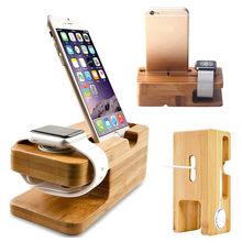 Suporte carregador para apple watch, base de bambu para carregamento, iwatch, iphone