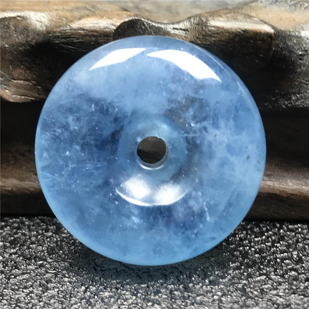 Real Natural Ocean Blue Aquamarine Peace Buckle For Woman Man Clear Crystal 26x10mm Round Beads Healing Gemstone Jewelry AAAAA