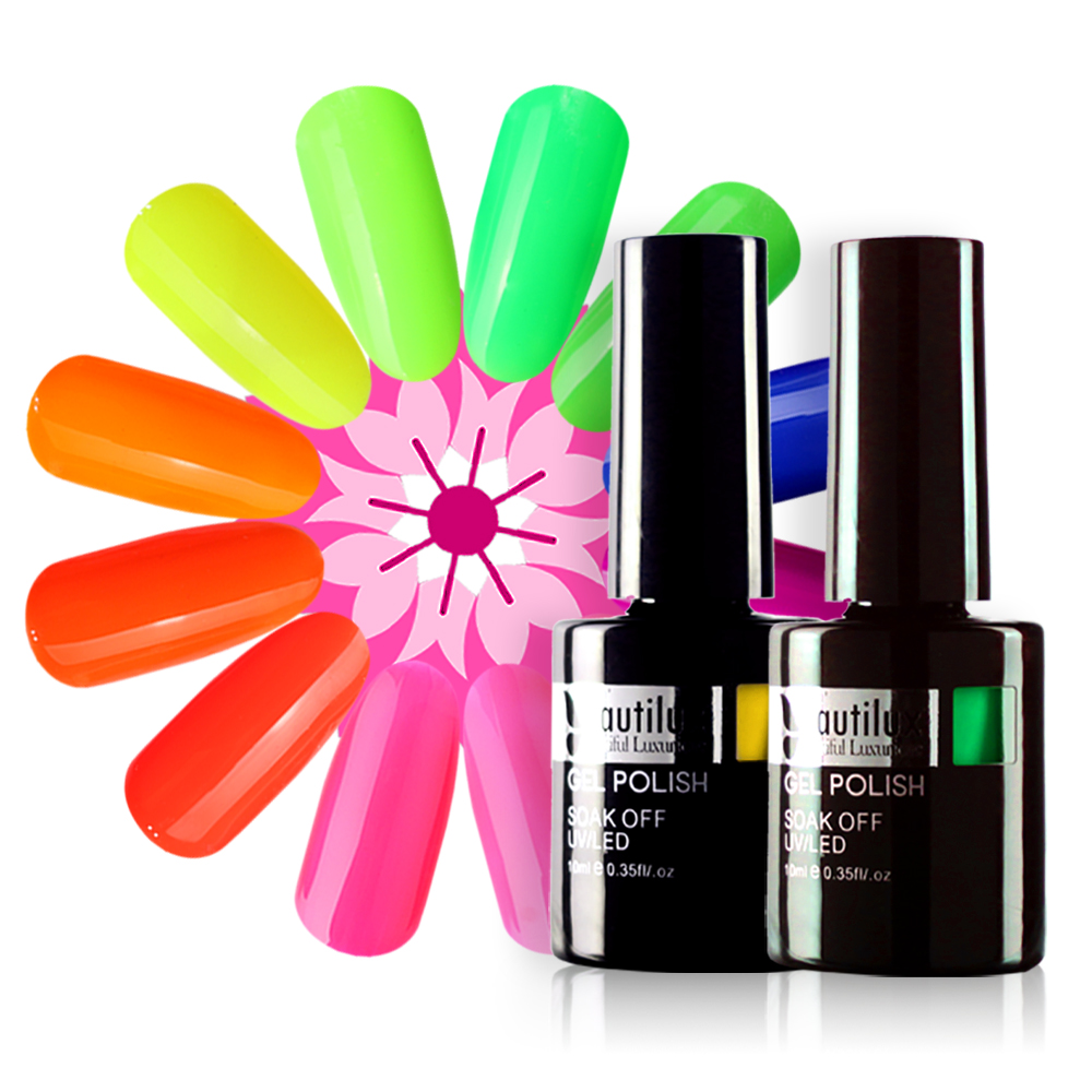 Beautilux 1pc Summer Collection Neon Yellow Red Pink Gel Nail Polish UV LED Gel Varnish Nails Art Lacquer Enamel 10ml