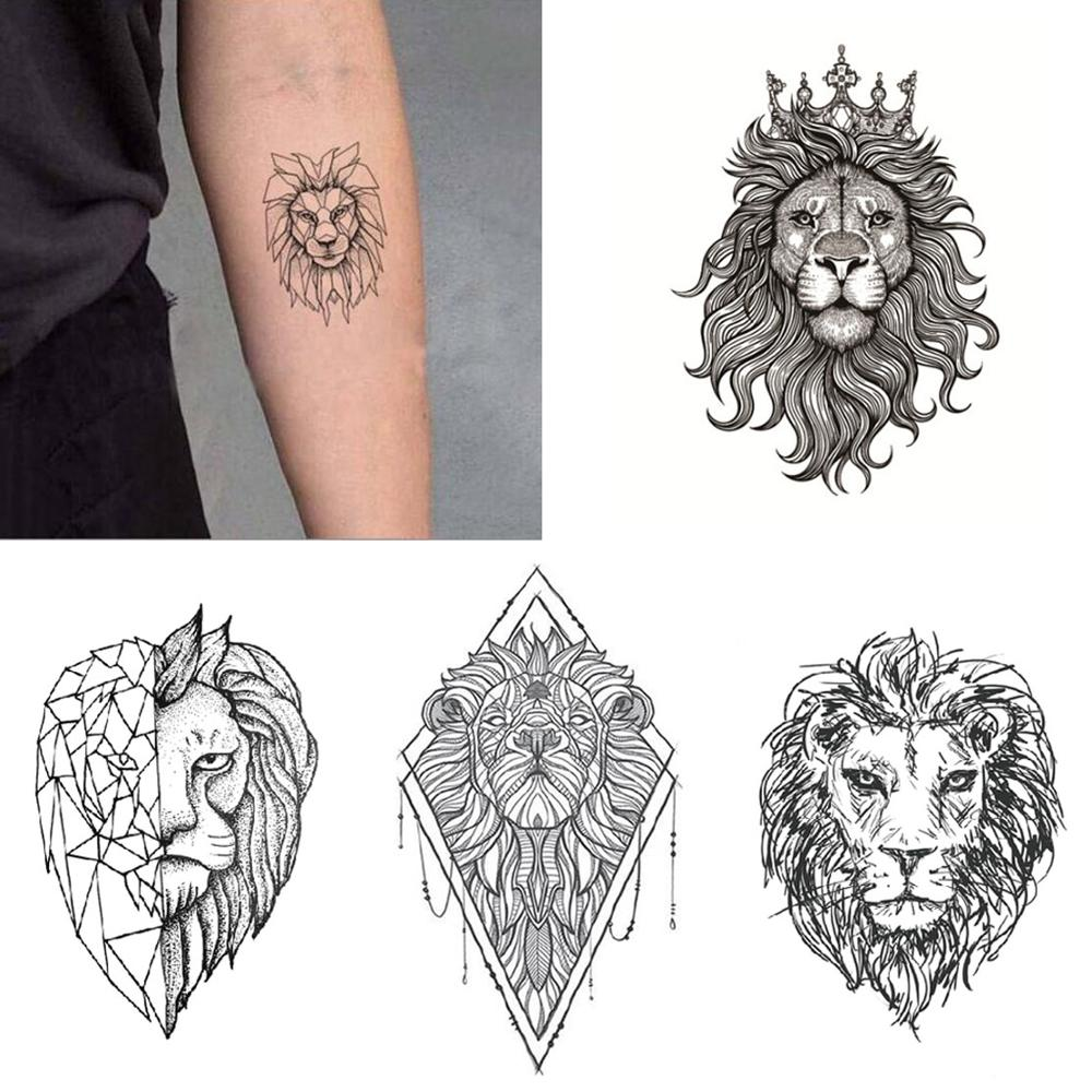 Lion Tattoo Sticker Waterproof Temporary Fake Tatoo Animals Cartoon Arm Hand Shoulder Boys Men Body Art Make Up Tools 10.5X6cm