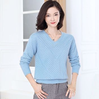2020 new spring white thin heart top fairy short hollow blouse loose sweater knitwear woman