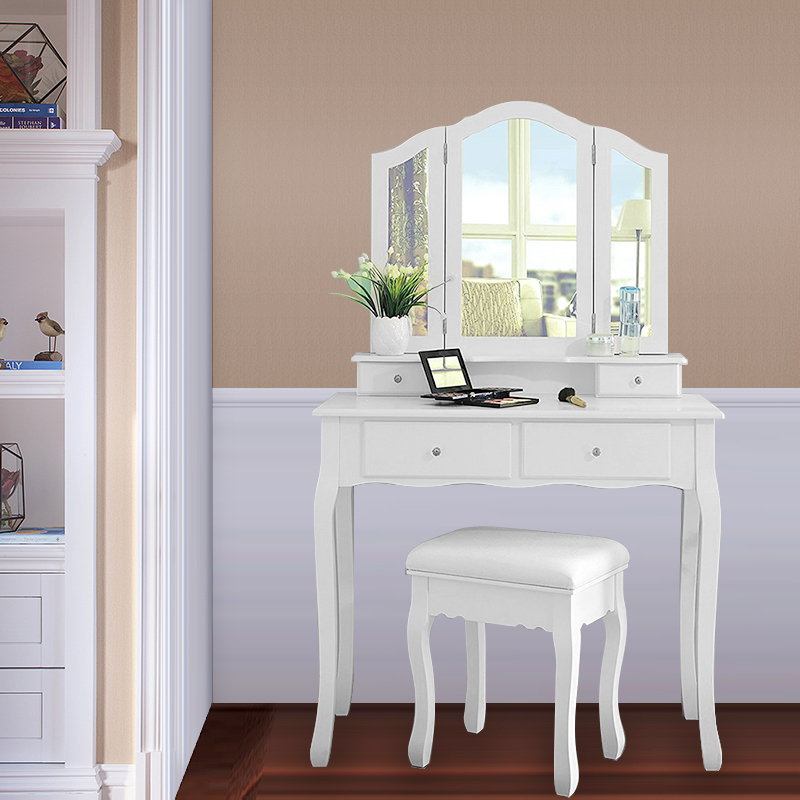 Modern Simplicity Dressers Make-up Dressing Table With 3 Mirrors 4 Drawers And 1 Stool Country Style 90*40*145 (L / W / H) HWC