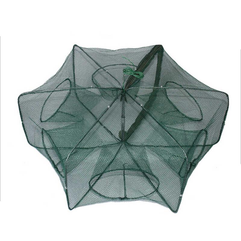 6 หลุมพับแบบพกพา Hexagon ตกปลาสุทธิเครือข่ายหล่อ Crayfish Catcher กับดักปลากุ้ง Catcher ถังกรงตาข่ายตาข่าย