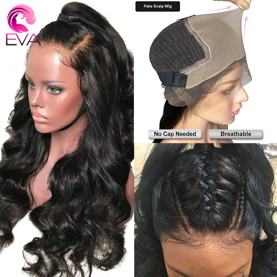 Eva Fake Scalp Body Wave 13x6 Lace Front Human Hair Wigs Pre Plucked With Baby Hair Glueless Brazilian Remy Hair For Black Women