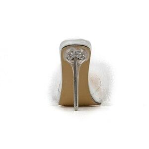 Image 4 - Kcenid zapatos de PVC con punta abierta para mujer, zapatillas femeninas de tacón alto transparente con plumas, en color blanco, 2020
