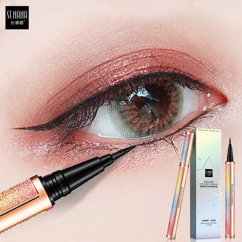 SENANA Starry Black Eyeliner Quick-drying Sweat-resistant Waterproof Eye Liner Pencil Long-lasting Liquid Eyeliner Makeup Tool image