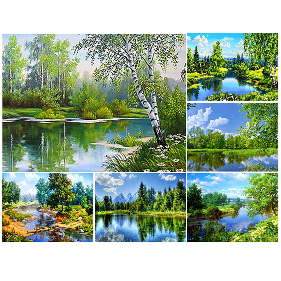 Sale DIY 5D Diamond Painting Tree Scenery Kit Full Drill Square Embroidery Landscape Mosaic Picture of Rhinestones Home Decor