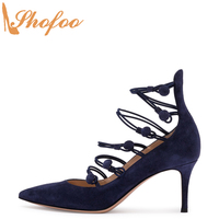 Navy Blue Stilettos High Heels Pointed Toe Women Pumps Flock Large Size 12 15 Ladies Summer Fashion Mature Sexy Shoes Shofoo