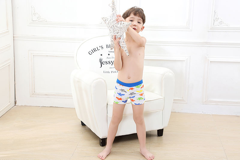 2019 New Style KID'S Swimwear Baby Infants Small Children Boy Blue Shark Swimming Boxer Lace-up Swimming Trunks