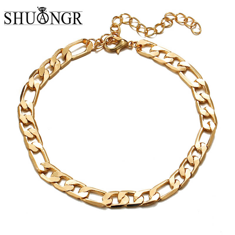 SHUANGR Golden Cuba Link Chain Anklets For Women Men Ankle Bracelet Leg Chain Summer Beach Foot Jewelry Accessories image