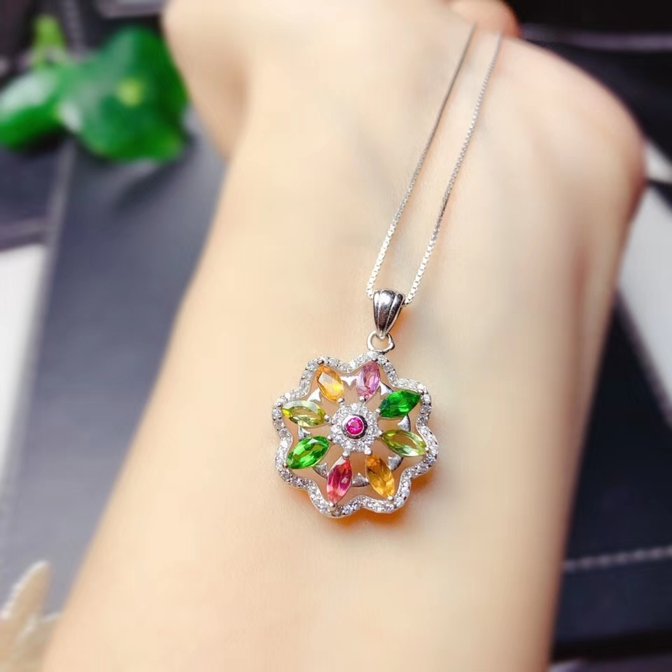 attractive colorful tourmaline gemstone earrings for women jewelry 925 sterling silver natural round gem girl birthday gift