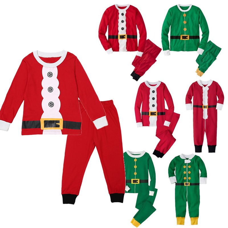 2020 Xmas Family Matching Pajamas Clothing Set Adult Kids Women Christmas Santa Claus Nightwear Pyjamas Pjs Photography Clothes