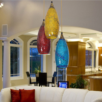 Bohemian Style Glass Lampshade Mediterranean Corridor Pendant Lamp For Bedroom Dining Room Lamp deco chambre