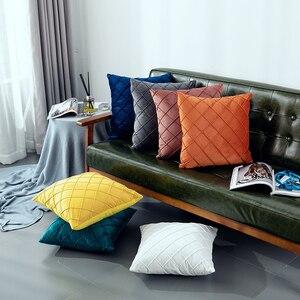 Чехол для подушки 45x45 см, модный клетчатый однотонный декоративный бархатный чехол с вышивкой, для гостиной, дивана, наволочка, домашняя ком...