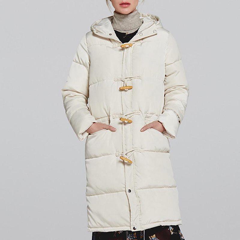 2019 Casual Vintage Elegant White   Parka   Women Long Cotton Coats Plus Size Winter Overcoat Hooded Plain Pink   Parkas   Outwear