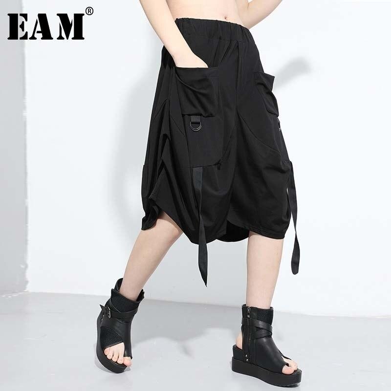 [EAM] High Elastic Waist Pleated Buckle Wide Leg Knee Length Trousers New Loose Fit Pants Women Fashion Spring Summer 2020 1U736