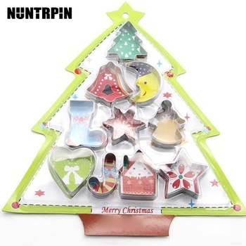 10pcs/set Stainless Steel Christmas Cookie Cutters Xmas Tree Star House Bells Snowflake Baking Cake Biscuit Fondant Mold stainless steel christmas house cookie mold diy baking cookie tools biscuit fondant cutters christmas cookie cutters