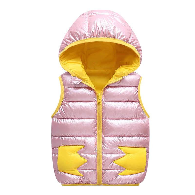 Sonbahar Kış Yelek Kız Kapşonlu Şerit Erkek Bebek Yelek 1-5 Yıl Çocuklar Bebek Geri Dönüşümlü Snowsuit Toddler Kolsuz ceket
