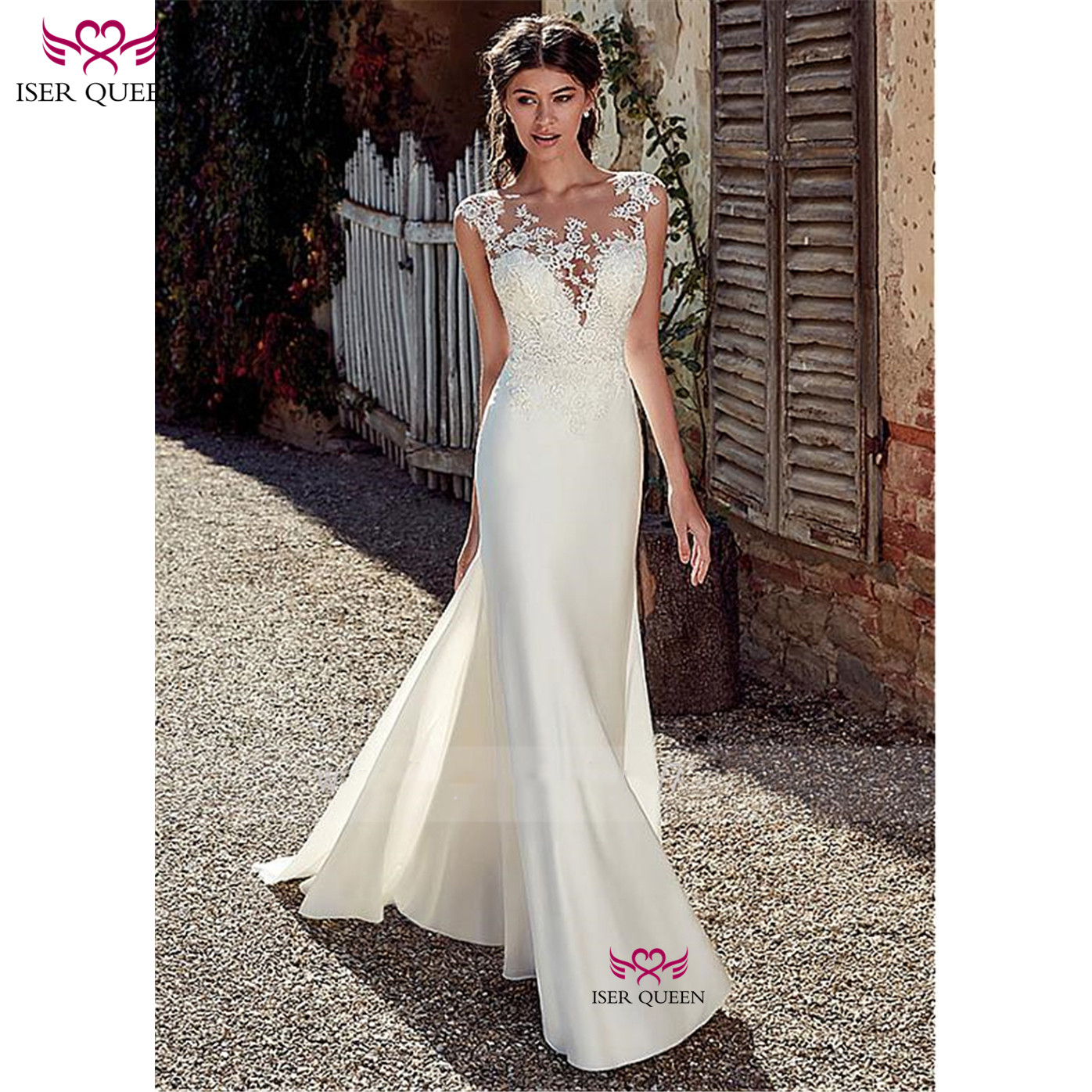 New Europe Style Satin Mermaid Wedding Dress Embroidery Lustrous Satin Deep V-neckline Vestido De Noiva Ivory Bride Dress W0517