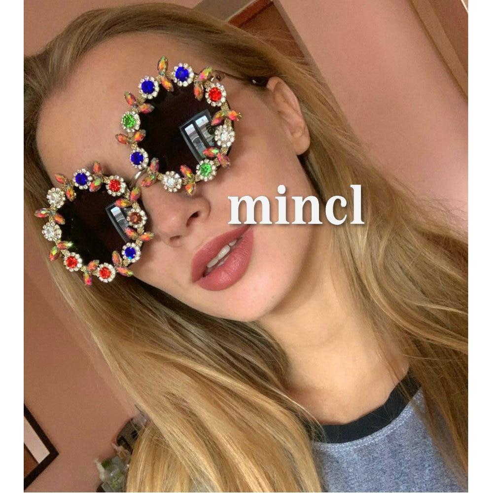 Color Sunglasses Diamond Baroque Female Shades Personality MINCL Decoration LXL Exaggerated