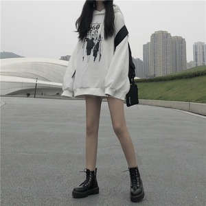 Image 3 - Hoodies Women Loose Thickening Printed Korean Style Students Solid Hip Hop Sweatshirts Hooded New All match BF Ulzzang Casual